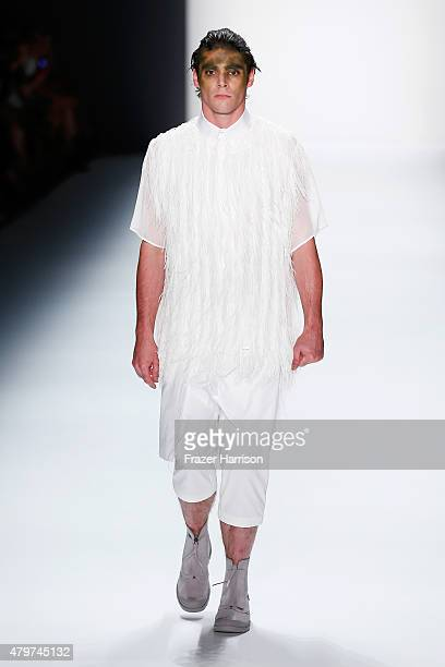 Mitte walks the runway at the Sopopular show during the Mercedes-Benz Fashion Week Berlin Spring/Summer 2016 at Brandenburg Gate on July 7, 2015 in...