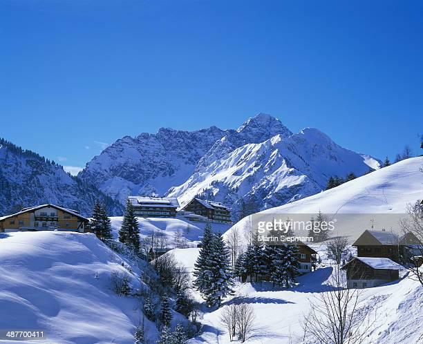 Mittelberg mountain and Grosser Widderstein mountain, Kleinwalsertal valley, Allgaeu Alps, Vorarlberg, Austria