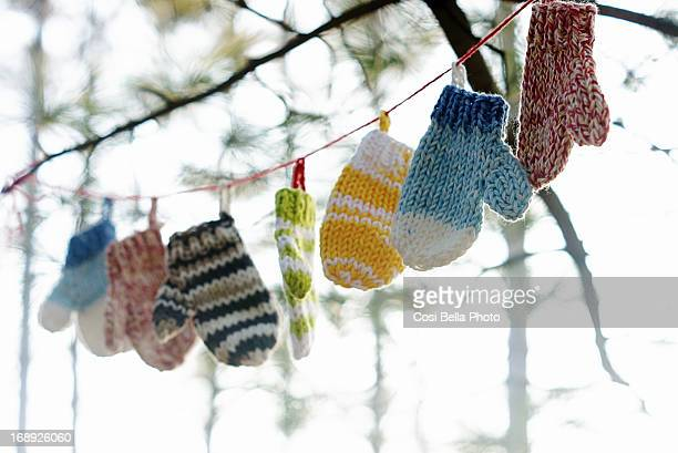 mittens on the line - mitten stock pictures, royalty-free photos & images