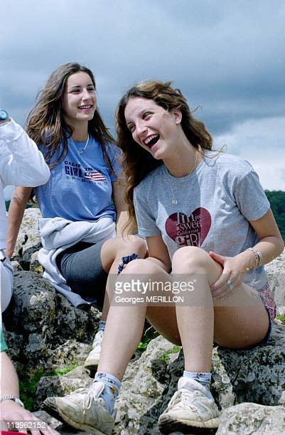 Mitterrand Family at the Solutre Rock In France On May 26 1996Pascale and Justine Mitterrand at the Solutre rock the beloved walkclimbing of their...