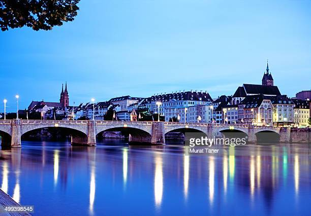 mittlere bridge and skyline of basel - basel switzerland stock pictures, royalty-free photos & images