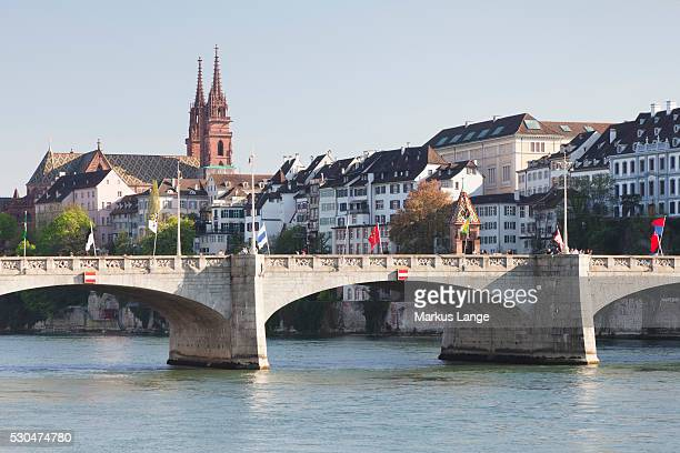 mittlere rheinbrucke bridge and cathedral, grossbasel, basel, canton basel stadt, switzerland, europe - stadt stock pictures, royalty-free photos & images