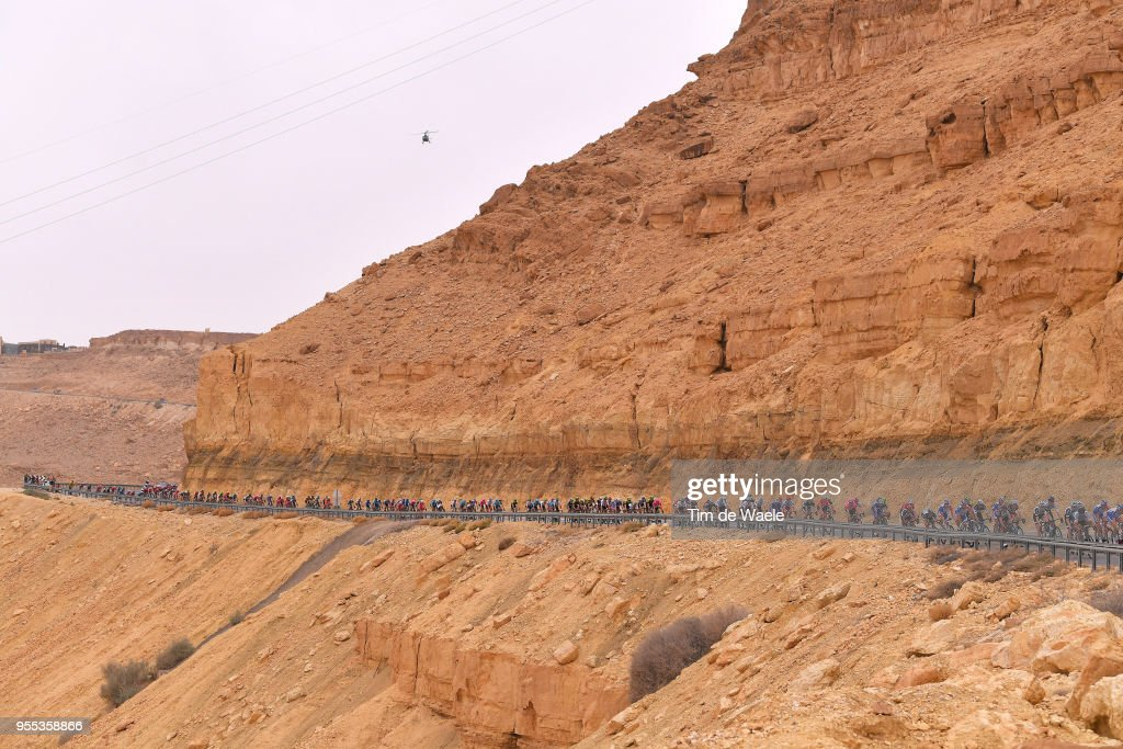 Mitzpe Ramon (840m)/ Negev Desert / Landscape / Peloton / during the 101th Tour of Italy 2018, Stage 3 a 229km stage from Be'er Sheva to Eilat / Giro d'Italia / on May 6, 2018 in Eilat, Israel.
