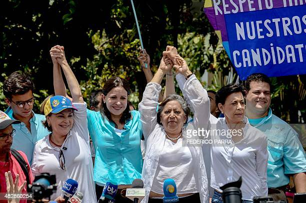 Mitzy Capriles de Ledezma wife of arrested Caracas Mayor Antonio Ledezma opposition leader Maria Corina Machado Isabel Pereira and the mother of...
