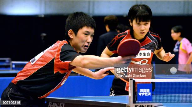 Miu Hirano and Tomokazu Harimoto compete in the Mixed Doubes 3rd round during day two of the All Japan Table Tennis Championships at the Tokyo...