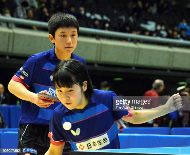 Miu Hirano and Tomokazu Harimoto compete in the Mixed Doubles Round of 16 match during day three of the All Japan Table Tennis Championships at the...