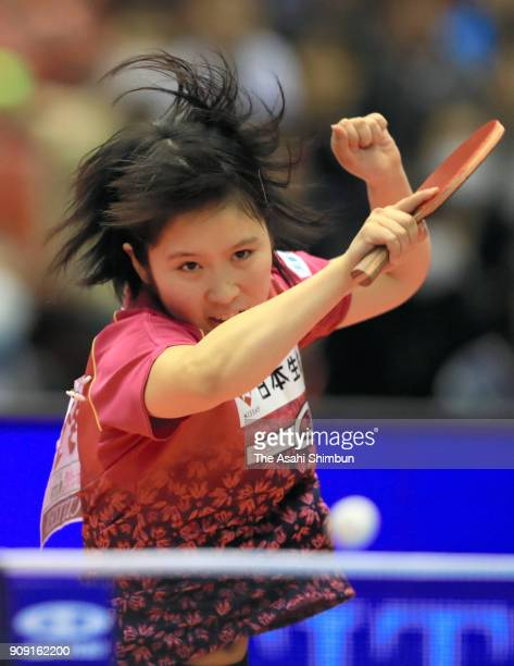 Miu Hirano competes in the Women's Signles semi final against Takako Nagao during day seven of the All Japan Table Tennis Championships at the Tokyo...
