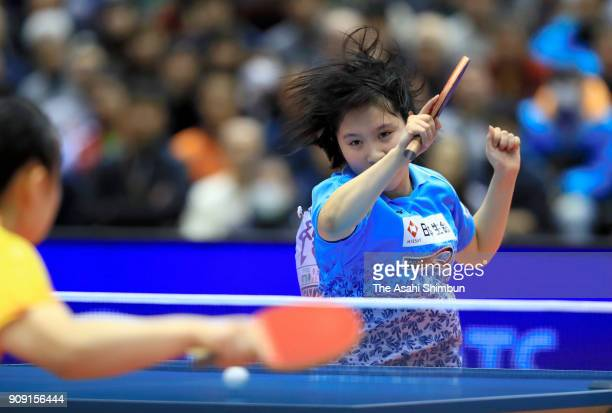 Miu Hirano competes in the Women's Singles final against Mima Ito during day seven of the All Japan Table Tennis Championships at the Tokyo...