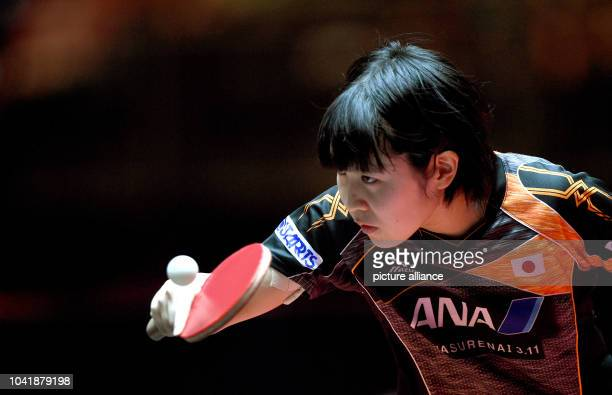 Miu Hirano from Japan in action against Oshonaike from Nigeria during the first round of the women's singles at the Table Tennis World Championships...