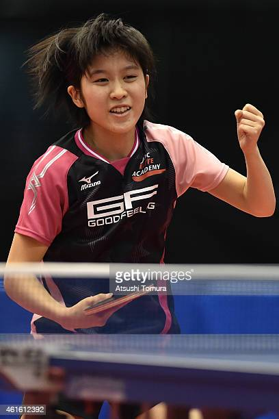 Miu Hirano of Japan celebrates after a point in the Women's Singles during day five of All Japan Table Tennis Championships 2015 at Tokyo...