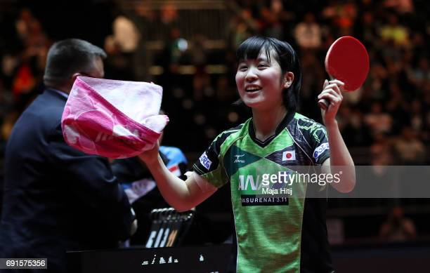 Miu Hirano of Japan celebrates after winning the Women's Singles quarterfinals match at Table Tennis World Championship at Messe Duesseldorf on June...