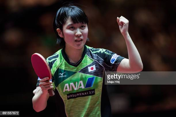 Miu Hirano of Japan celebrates during Women's Singles quarterfinals at Table Tennis World Championship at Messe Duesseldorf on June 2 2017 in...