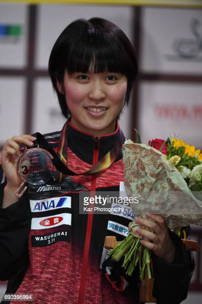Miu Hirano of Japan celebrates the Bronze medal for the first time in 48 years at Messe Duesseldorf on June 4 2017 in Dusseldorf Germany
