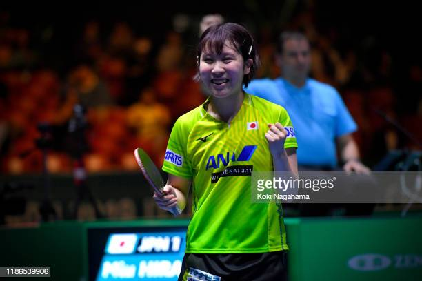 Miu Hirano of Japan celebrates the victory against Jeon Jihee of Korea Republic during Women's Teams singles - Semifinals - Match 2 on day four of...