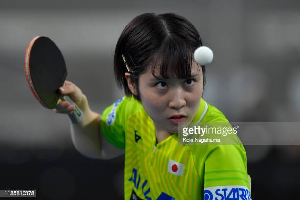 Miu Hirano of Japan competes against Amelie Solja of Austria during Women's Teams singles Group B - Match 1 on day one of the ITTF Team World Cup,...