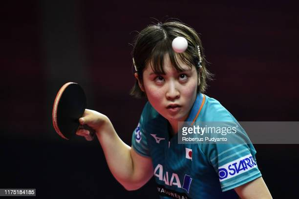 Miu Hirano of Japan competes against Chen Szu Yu of Chinese Taipei during day three of the ITTFAsian Table Tennis Championships at Among Raga Stadium...