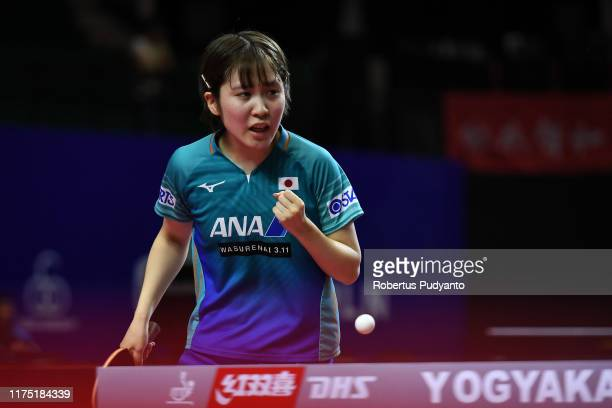 Miu Hirano of Japan competes against Chen Szu Yu of Chinese Taipei during day three of the ITTF-Asian Table Tennis Championships at Among Raga...