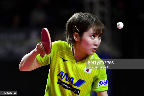 Miu Hirano of Japan competes against Ding Ning of China during Women's Singles quarter-finals match on day six of the ITTF-Asian Table Tennis...