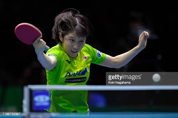 Miu Hirano of Japan competes against Liu Shiwen of China during match 1 of the Women's team final on day five of the ITTF Team World Cup, Tokyo 2020...
