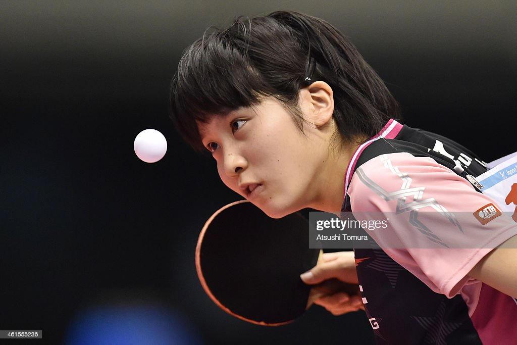 Miu Hirano of Japan competes against Mima Ito of Japan in the Women's Singles semi final during the day four of All Japan Table Tennis Championships 2015 at Tokyo Metropolitan Gymnasium on January 15, 2015 in Tokyo, Japan.