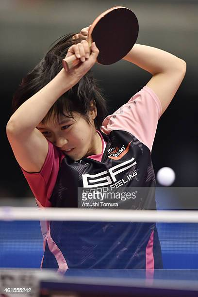 Miu Hirano of Japan competes against Mima Ito of Japan in the Women's Singles semi final during the day four of All Japan Table Tennis Championships...