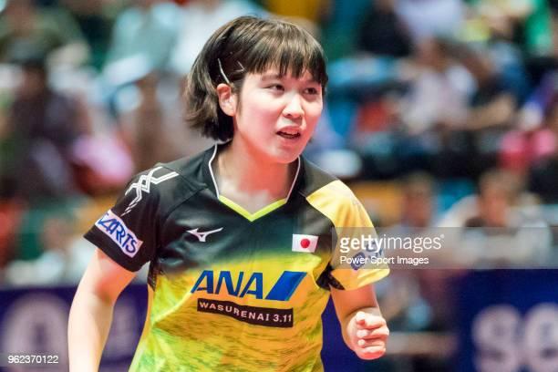 Miu Hirano of Japan competes against Zhang Rui of China during Women's Singles - Round of 16 of Table Tennis Hang Seng Hong Kong Open on May 25, 2018...