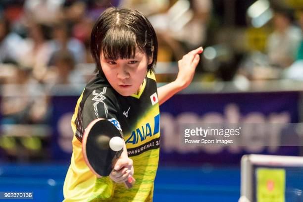 Miu Hirano of Japan competes against Zhang Rui of China during Women's Singles Round of 16 of Table Tennis Hang Seng Hong Kong Open on May 25 2018 in...