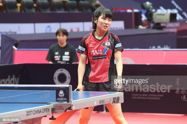 Miu Hirano of Japan competes during the women's singles first round match against Jiang Huajun of Hong Kong on the day one of the 2017 ITTF World...