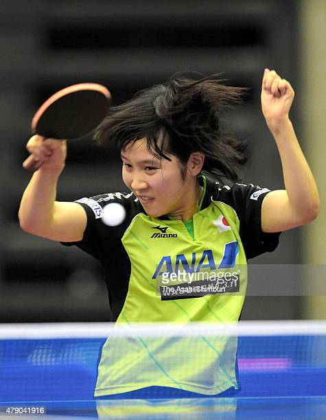 Miu Hirano of Japan competes in the Women's Singles first round against Ding Ning of China during day three of the ITTF World Tour Super Series Japan...