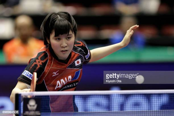 Miu Hirano of Japan competes in the Women's Singles quarter final match against Chen Meng of China during day four of the 2017 ITTF World Tour...