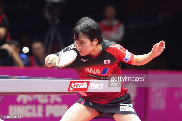 Miu Hirano of Japan competes in the Women's Singles quarter-final match against Kasumi Ishikawa of Japan on day two of 2018 ITTF Women's World Cup at...