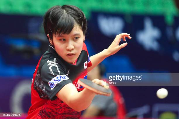 Miu Hirano of Japan competes in the Women's Singles round of 16 match against Kim Song I of North Korea on day two of 2018 ITTF Women's World Cup at...