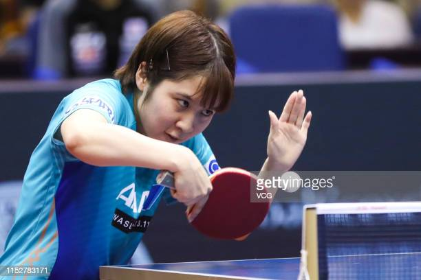 Miu Hirano of Japan competes in the Women's Singles Round of 16 match against Ding Ning of China during day four of the Seamaster 2019 ITTF World...