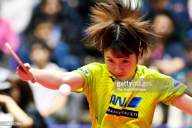 Miu Hirano of Japan competes in the Women's Singles semi final against Liu Shiwen of China on day five of the ITTF Lion Japan Open at Hokkaido...