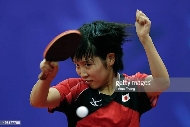 Miu Hirano of Japan competing against Barkhas Enkhjin of Mongolia in Table Tennis Women's Team Preliminary Round Group C during day eight of the 2014...