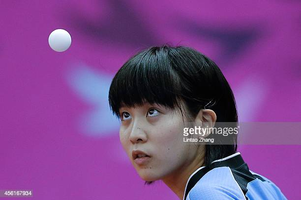 Miu hirano of Japan competing against Shareef Aminath Shiura of Maldives in Table Tennis Women's Team Preliminary Round Group C during day eight of...