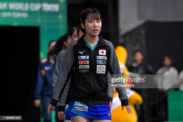Miu Hirano of Japan enter the court prior during Women's Teams - Group B - Match 2on day one of the ITTF Team World Cup, Tokyo 2020 Test Event at the...