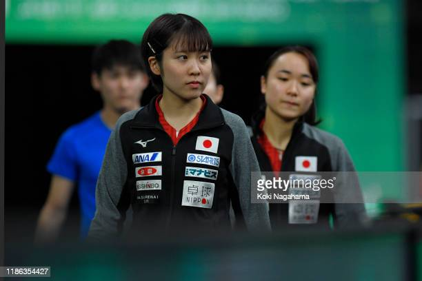Miu Hirano of Japan enter the court prior to Women's Teams - Quarterfinals - Match 4 on day three of the ITTF Team World Cup, Tokyo 2020 Test Event...