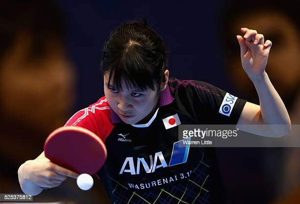 Miu Hirano of Japan in action against Lee Zion of Korea during day one of the Nakheel Table Tennis Asian Cup 2016 at Dubai World Trade Centre on...
