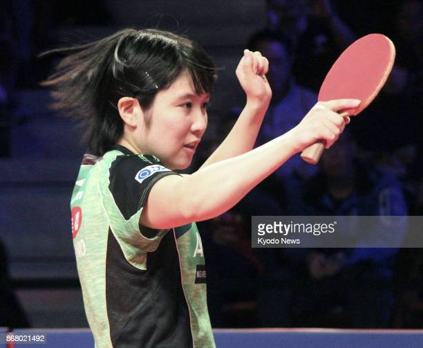 Miu Hirano of Japan is pictured during her semifinal match against Liu Shiwen of China at the Women's World Cup table tennis competition in Markham...
