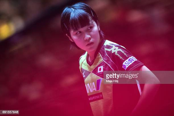 Miu Hirano of Japan looks on during Women's Singles quarterfinals at Table Tennis World Championship at Messe Duesseldorf on June 2 2017 in...