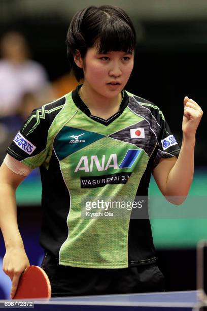 Miu Hirano of Japan reacts in the Women's Singles second round match against Jeon Jihee of South Korea during day four of the 2017 ITTF World Tour...