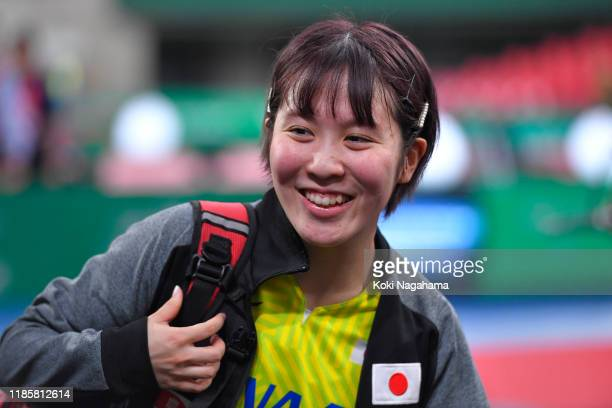 Miu Hirano of Japan smiles at her fans after winning Women's Teams doubles Group B - Match 1 on day one of the ITTF Team World Cup, Tokyo 2020 Test...