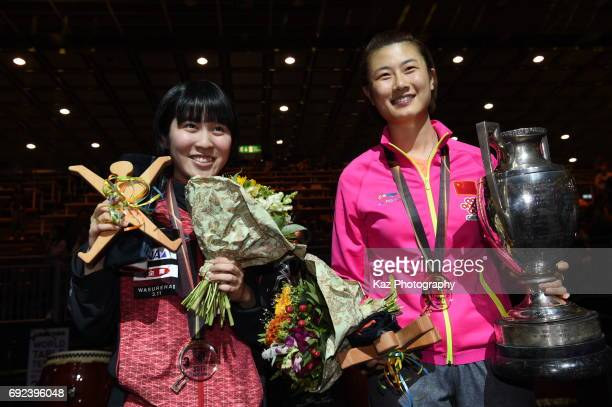 Miu Hirano of Japan with Bronze medal and Ding Ning of China with Gold medal at Messe Duesseldorf on June 4 2017 in Dusseldorf Germany