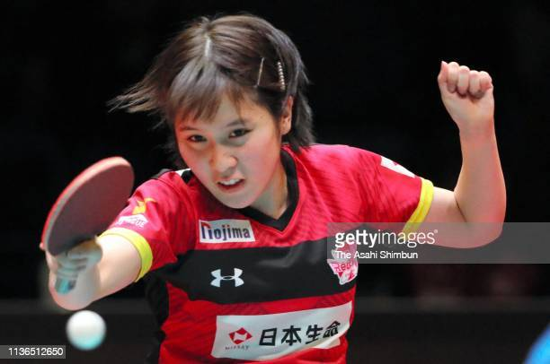 Miu Hirano of Nippon Life Red Elf competes against Doo Hoi Kem of Kinoshita Abyell Kanagawa during the T.League Women's Playoff between Nippon Life...
