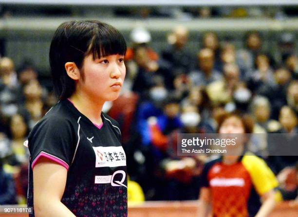 Miu Hirano reacts after a point in the Women's Singles 6th round during day five of the All Japan Table Tennis Championships at the Tokyo...