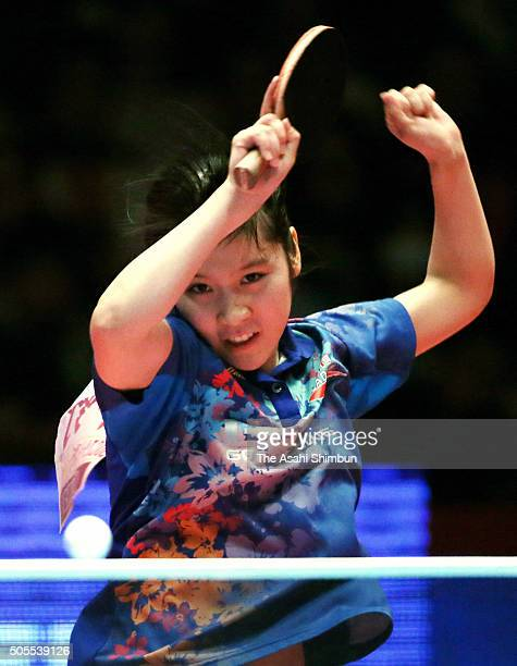 Miu Hirano smashes in the Women's Singles final against Kasumi Ishikawa during day seven of the All Japan Table Tennis Championships at the Tokyo...