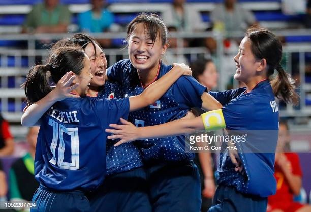 Miu Maeda of Japan celebrates scoring the first goal against Spain with Aki Ikeuchi Rikako Yamakawa and Rinka Yokoyama in the Women's Futsal...