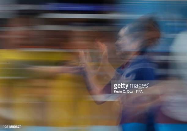 Miu Maeda of Japan celebrates scoring the sixth goal against the Dominican Republic in the Women's Group D match between Japan and Dominican Republic...