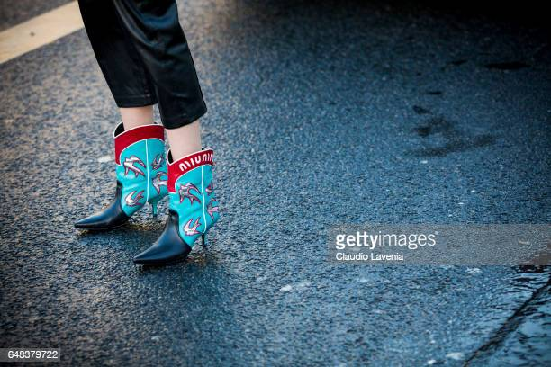 Miu Miu shoes details after the Akris show at the Palais de Tokyo during Paris Fashion Week Womenswear Fall/Winter 2017/2018 on March 5 2017 in Paris...